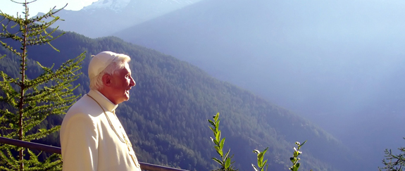 POPE LOOKS OUT TOWARD MOUNTAINS IN NORTHERN ITALY